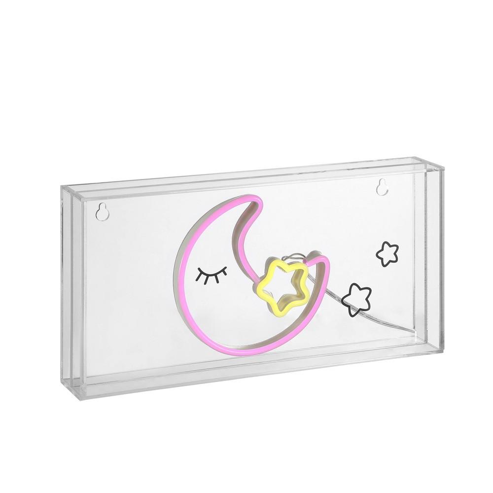 11 8 34 Led Moon Contemporary Glam Acrylic Box Pendant Neon Pink Yellow Jonathan Y
