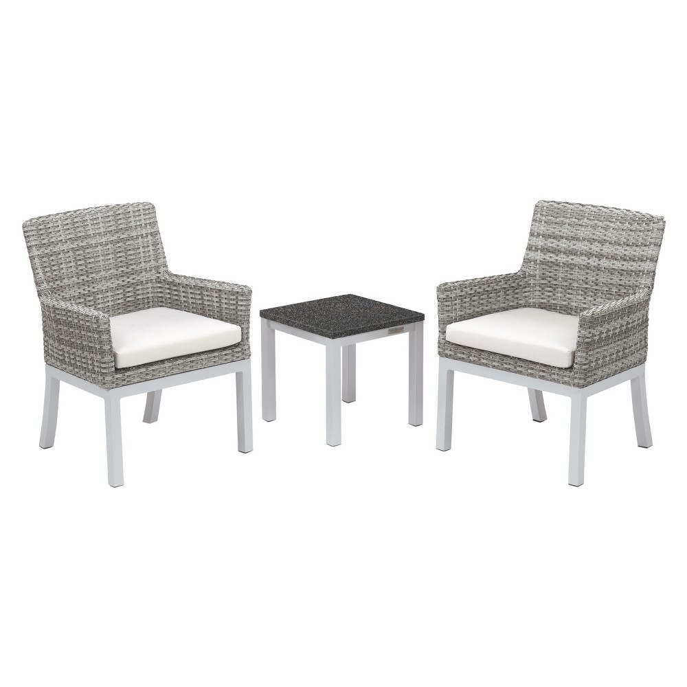 Travira 3pc Patio Conversation Set with End Table - Argento Wicker - Charcoal Tabletop - Oxford Garden, Charcoal Tabletop/Eggshell White Cushions/Argento Wicker