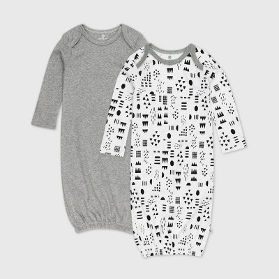 Honest Baby Baby 2pk Organic Cotton Pattern Play Nightgown - 0-6M