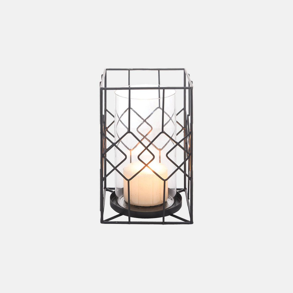 Small Diamond Wire Candle Holder - Foreside Home & Garden, Black