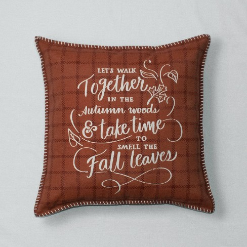 Walk Together Printed Throw Pillow Brown - Threshold™ - image 1 of 1