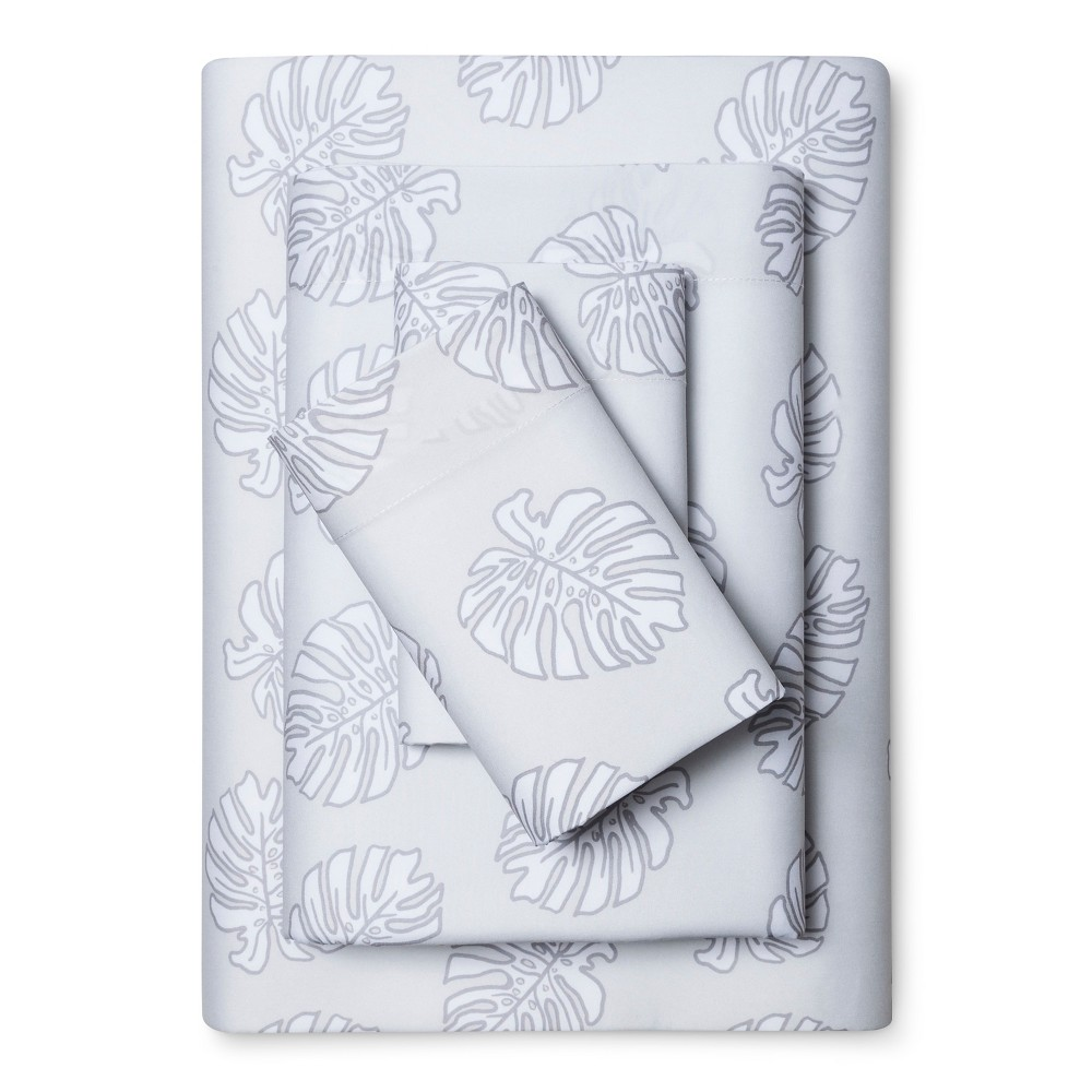Microfiber Sheet Set (Twin) Silver Palm Fronds - Room Essentials, White Glove