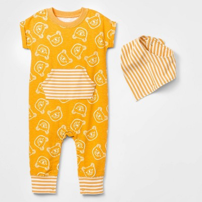 Baby Boys' Bear Romper with Bib - Cat & Jack™ Gold Newborn