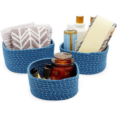 Farmlyn Creek 3-Pack Round Cotton Woven Baskets for Storage, Blue Home Organizers (3 Sizes)