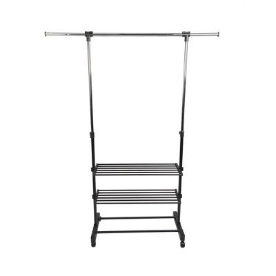 Mind Reader Garment Rack, 2-Shelf Clothing Rack, Stainless Steel