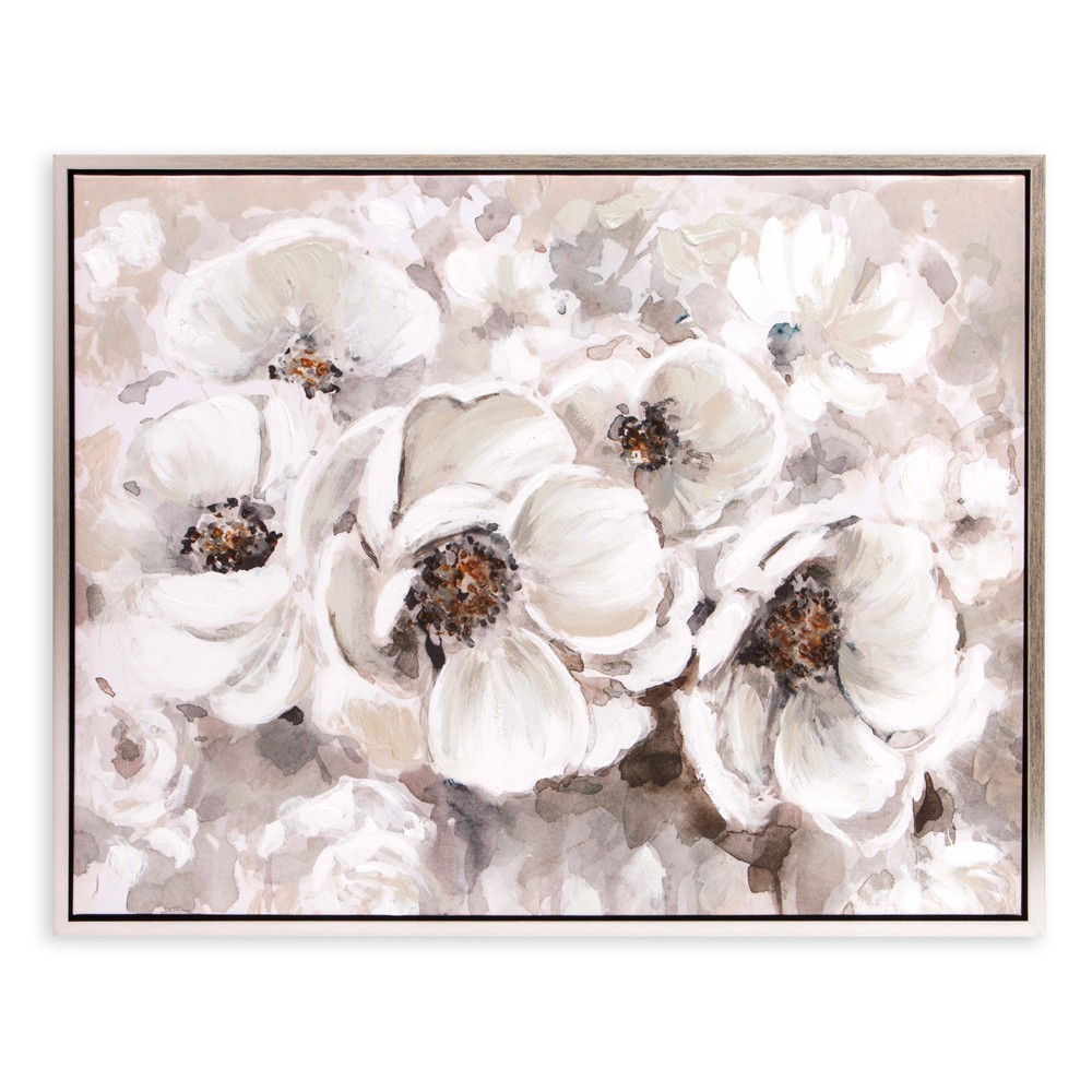 "Image of ""30""""x38"""" Ivory Flowers Framed Canvas Art Silver - Patton Wall Decor"""
