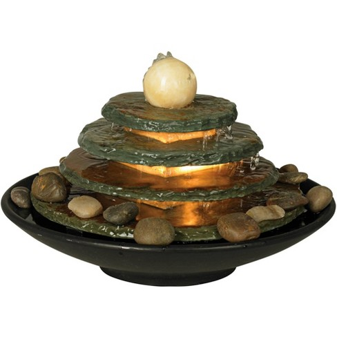 John Timberland Zen Indoor Tabletop Water Fountain With Light 10 High 4 Tiered Feng Shui Ball For Table Desk Office Home Bedroom Target