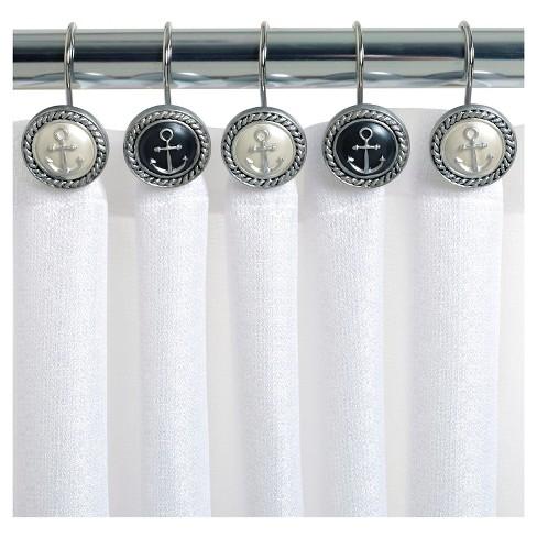 Beach Cottage Resin Slate Novelty Shower Curtain Hooks Natural