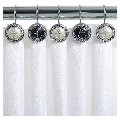 Merveilleux Beach Cottage Resin Slate Novelty Shower Curtain Hooks Natural/Slate    India Ink