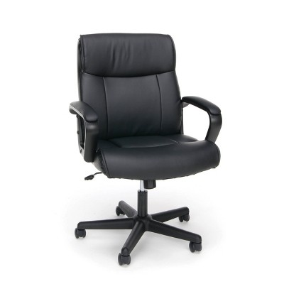 Essentials Collection Bonded Leather Executive Chair with Arms Black - OFM