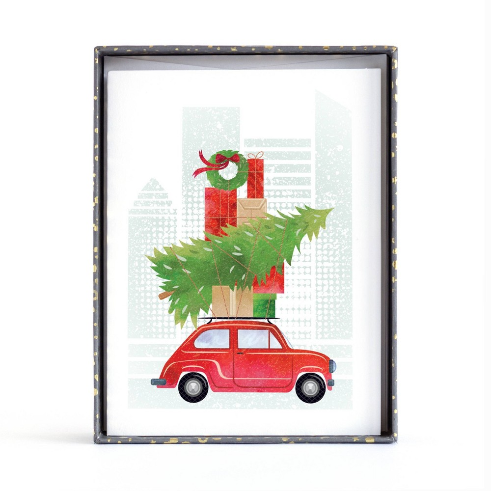 Image of 10ct Minted Christmas Car Boxed Greeting Cards