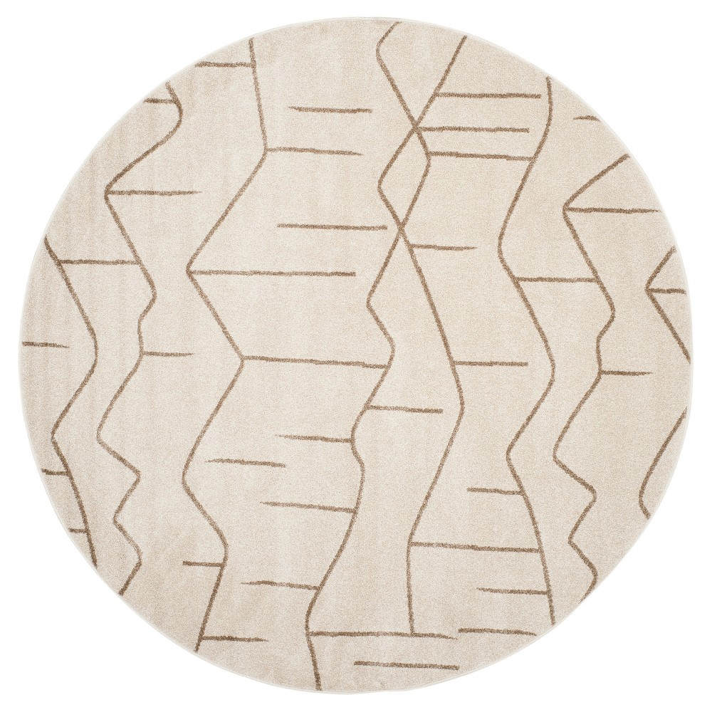 Ivory/Gray Abstract Loomed Round Area Rug - (7' Round) - Safavieh, White