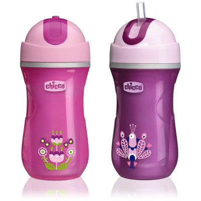 Chicco 2pk NaturalFit Insulated Flip Top Straw Cup 9oz - Pink/Purple