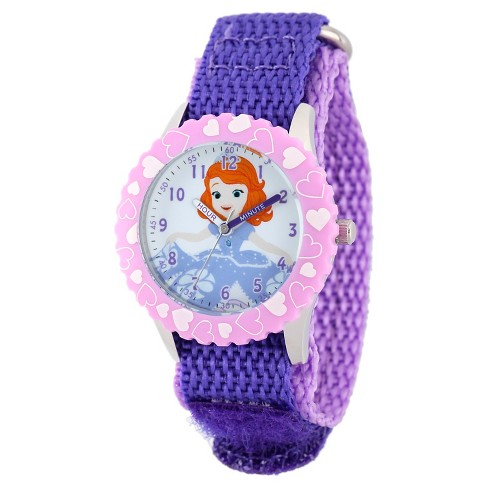 Disney® Girls' Sofia Stainless Steel Case with Bezel Watch - Purple - image 1 of 2