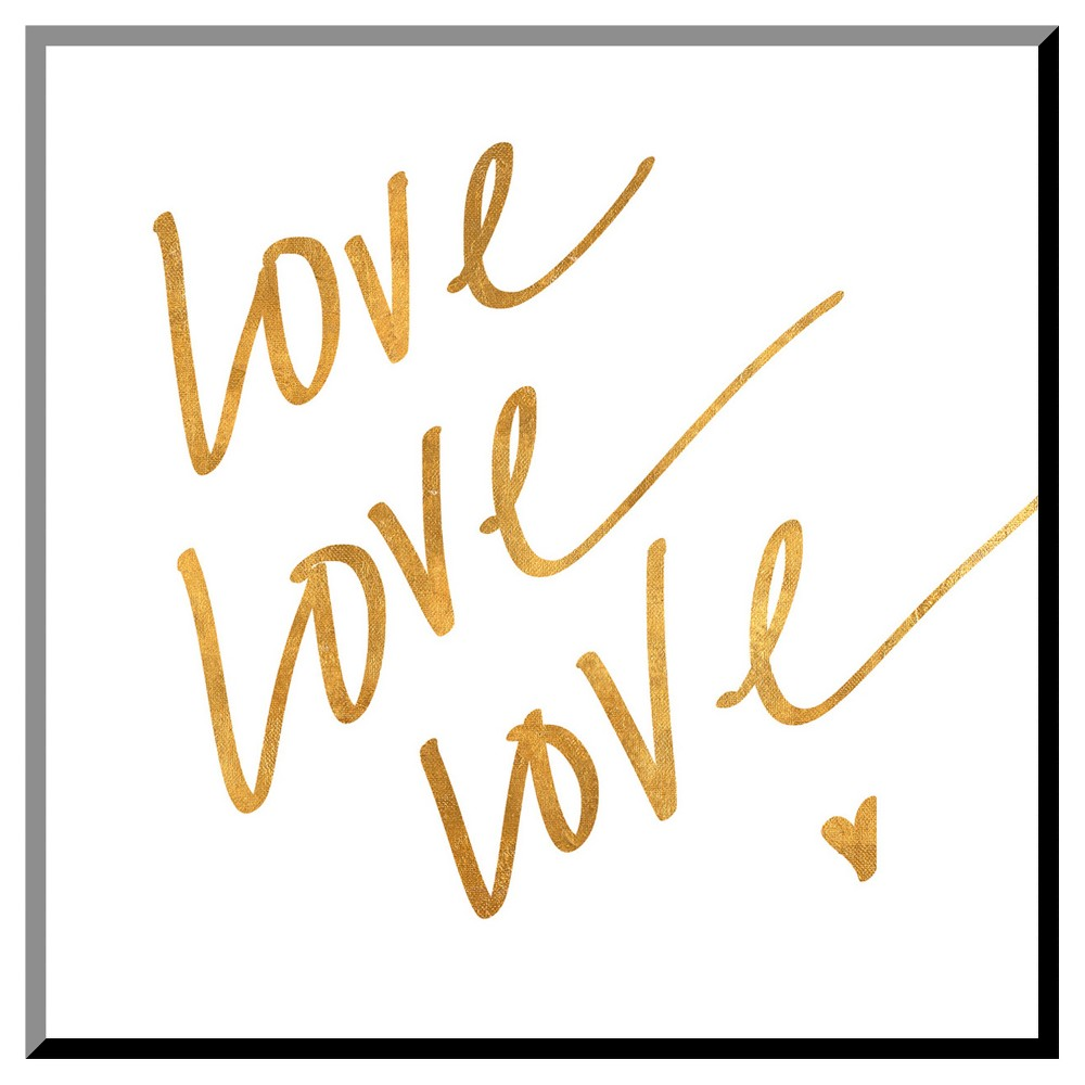 Love Love Love (gold foil) Mounted Print