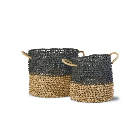 TAG Marley Bay 2-Tone Loop Baskets Set Of 2 Twisted Woven Loop Paper With Handles For Organization Storage Home Decor - image 1 of 1