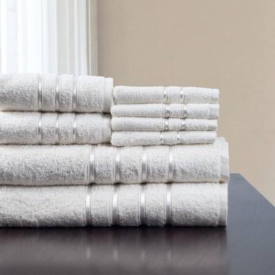 8pc Plush Cotton Bath Towel Set White - Yorkshire Home