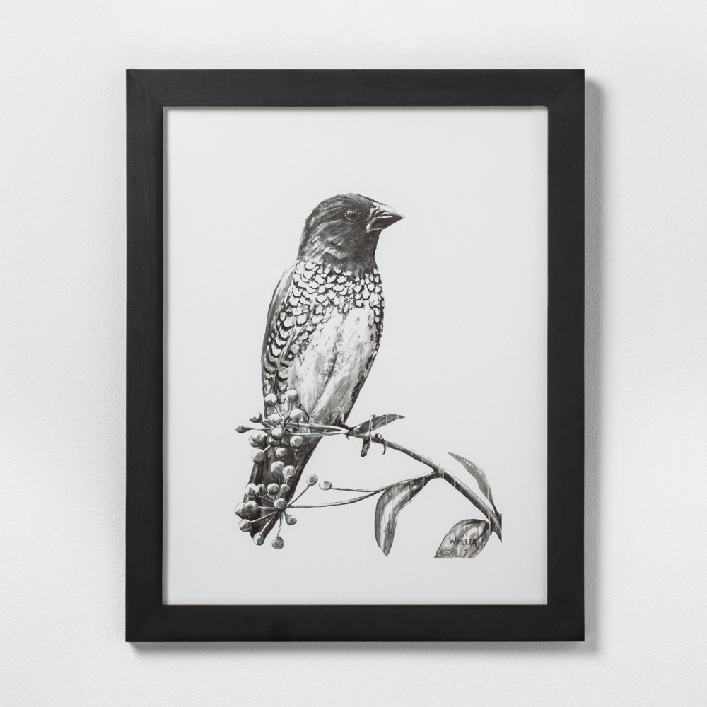 "Image of ""16"""" X 20"""" Sketched Bird on Branch Wall Art with Black Wood Frame - Hearth & Hand with Magnolia"""