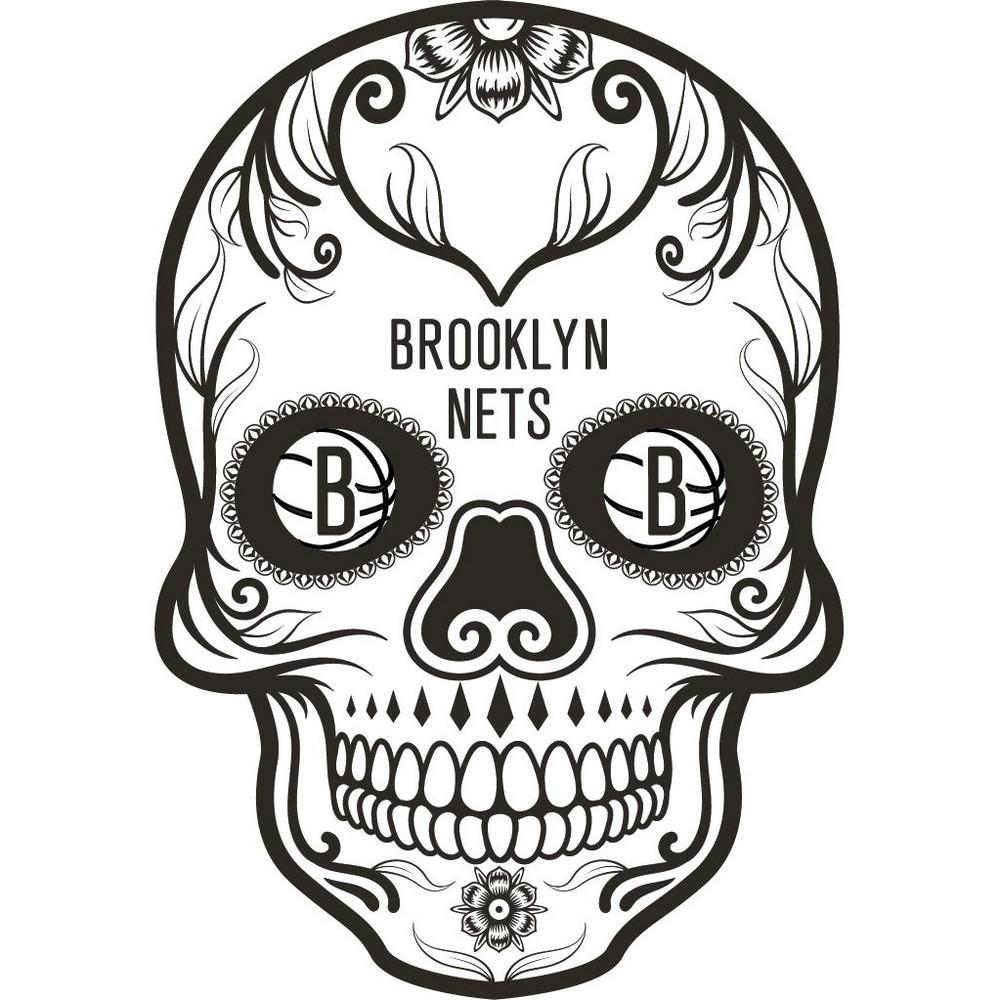 NBA Brooklyn Nets Large Outdoor Skull Decal