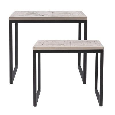 Set of 2 Thorpe Reclaimed Wood Nesting End Tables Gray/Black - Aiden Lane