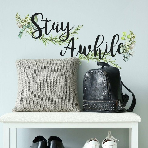 Stay Awhile Quote Peel and Stick Wall Decal - RoomMates - image 1 of 4