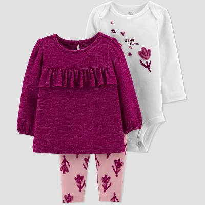Baby Girls' Floral Top & Bottom Set - Just One You® made by carter's Maroon/Pink/White 3M
