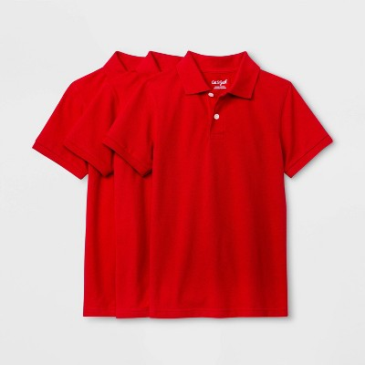 Boys' 3pk Short Sleeve Stretch Pique Uniform Polo Shirt - Cat & Jack™ Red