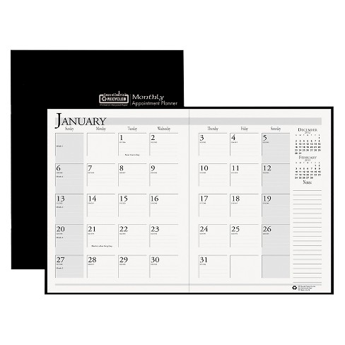 House of Doolittle™ Recycled Ruled Planner with Stitched Leatherette Cover 8.5x11 Black 2017-2019 - image 1 of 1