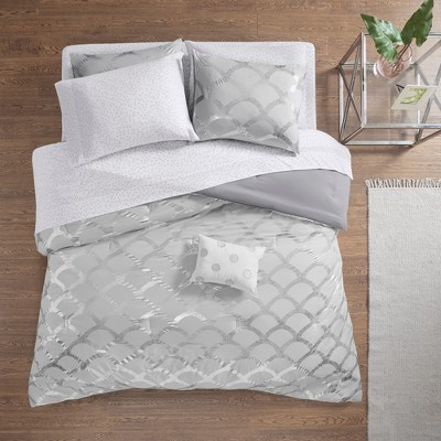 8pc Queen Janelle Comforter and Sheet Set Gray