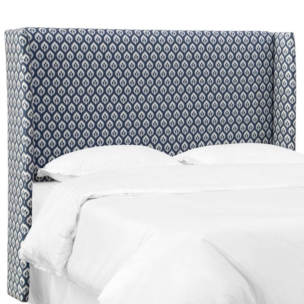 California King Laura Wingback Headboard Navy Floral - Skyline Furniture Buy