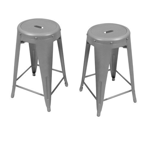 Excellent Ingrd 24 Metal Stacking Counter Stool Set Of 2 Galvanized Carolina Chair And Table Caraccident5 Cool Chair Designs And Ideas Caraccident5Info
