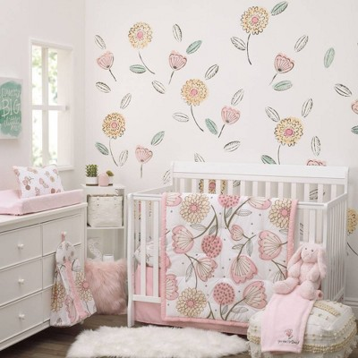 NoJo Beautiful Floral Crib Nursery Bedding Set - Pink/Gray/White 10pc