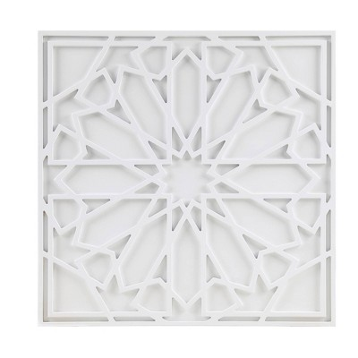Boho Notion Square Carved Wall Panel White