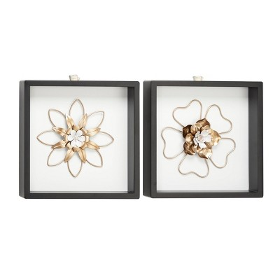"(Set of 2) 12"" x 12"" Metal Flower Wall Decor Sculptures in Square Frames White/Gold - Olivia & May"
