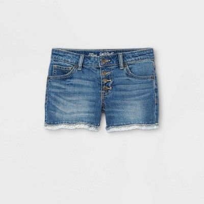 Girls' Lace Hem Jean Shorts - Cat & Jack™