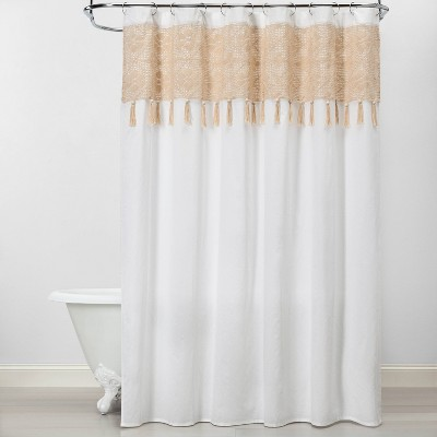 Macrame Inset With Wood Bead Tassels Shower Curtain White/Beige - Opalhouse™