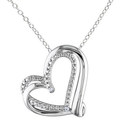 Women's Diamond Heart Pendant Necklace in Sterling Silver - Silver