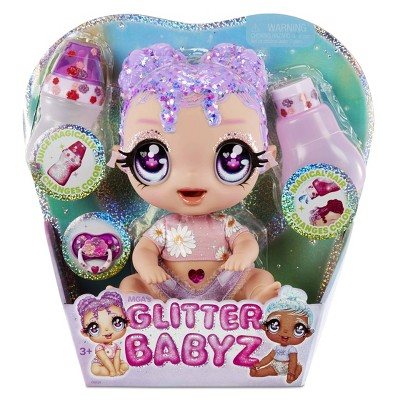 Glitter Babyz Lila Wildboom with 3 Magical Color Changes Baby Doll - Lavender Purple Hair