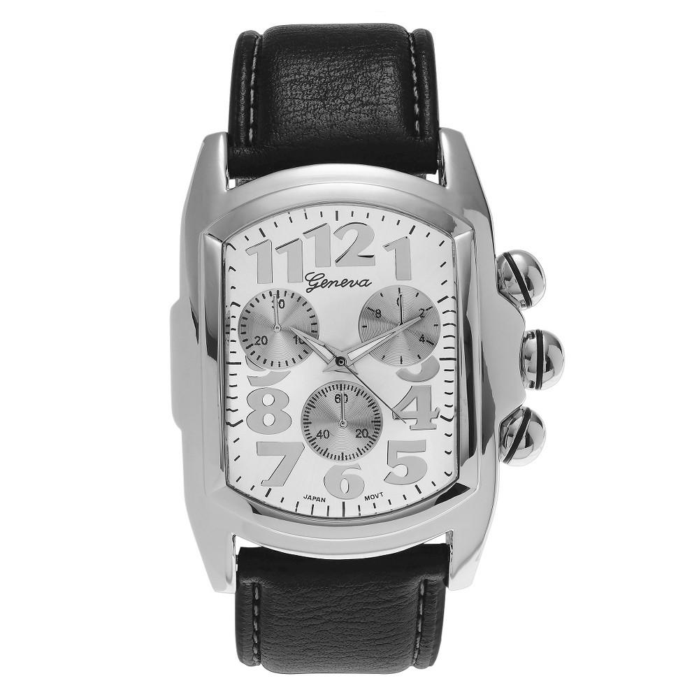 Men's Geneva Platinum Black Leather Strap Bold Watch - Silver