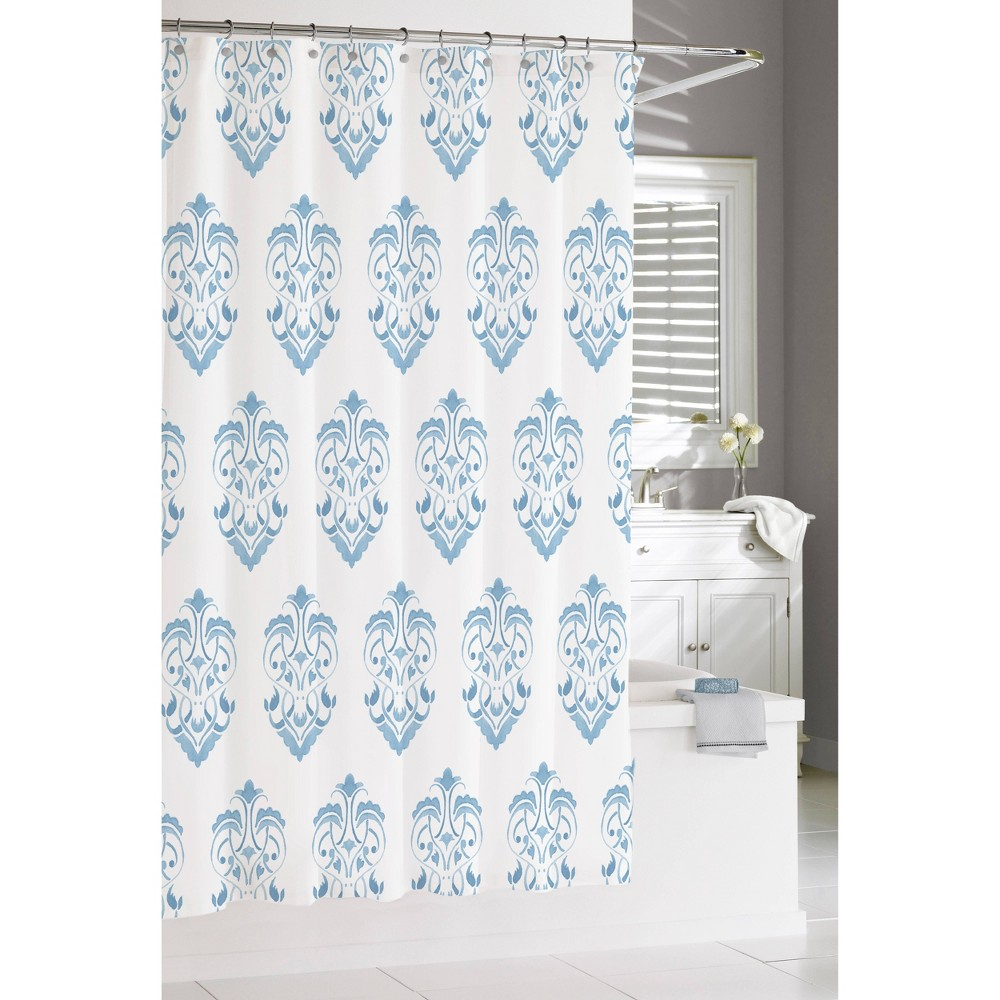 "Image of ""72""""x72"""" Crest Shower Curtain Blue - Cassadecor"""