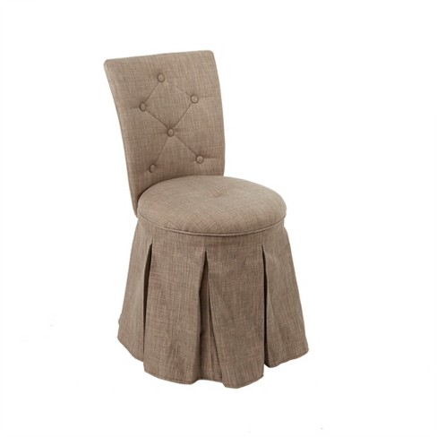 Smith Skirted Swivel Vanity Chair With Diamond Tufted Back Linen
