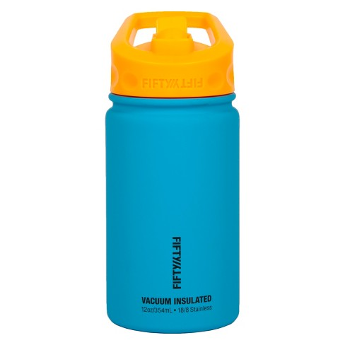 FIFTY/FIFTY 12 oz Bottle With Straw Top Lid - Blue/Orange - image 1 of 4