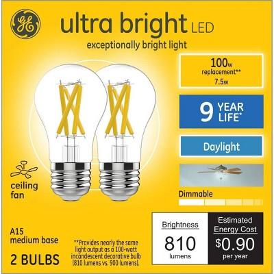 General Electric 2pk 100W A15 Ceiling Fan DL Ultra Bright LED Clear