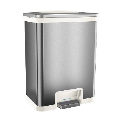 halo quality 13gal TapCan Stainless Steel Pedal Sensor Step Trash Can with White Trim