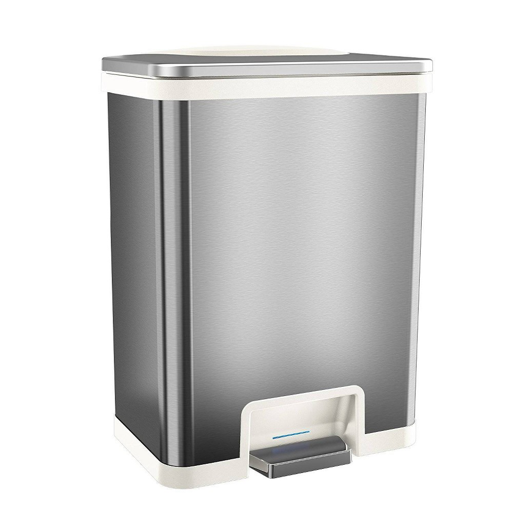 Image of 13gal TapCan Stainless Steel Pedal Sensor Step Trash Can with White Trim - Halo, Silver