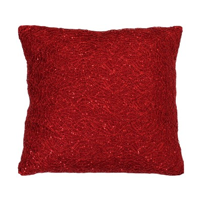 "19""x19"" Phillip Lace Sequin Faux Linen Square Throw Pillow - Décor Therapy"