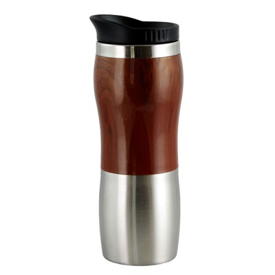 Gibson Home Monaco Cafe 15 Ounce Stainless Steel Thermal Insulated Travel Mug Cup with Lid