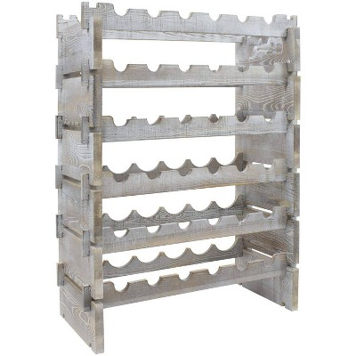 6-Tier Stackable Bamboo Wine Rack Torched Wood - Sorbus