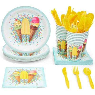 Juvale 144 Pieces Ice Cream Party Supplies, Paper Plates, Napkins, Cups and Plastic Cutlery (Serves 24)