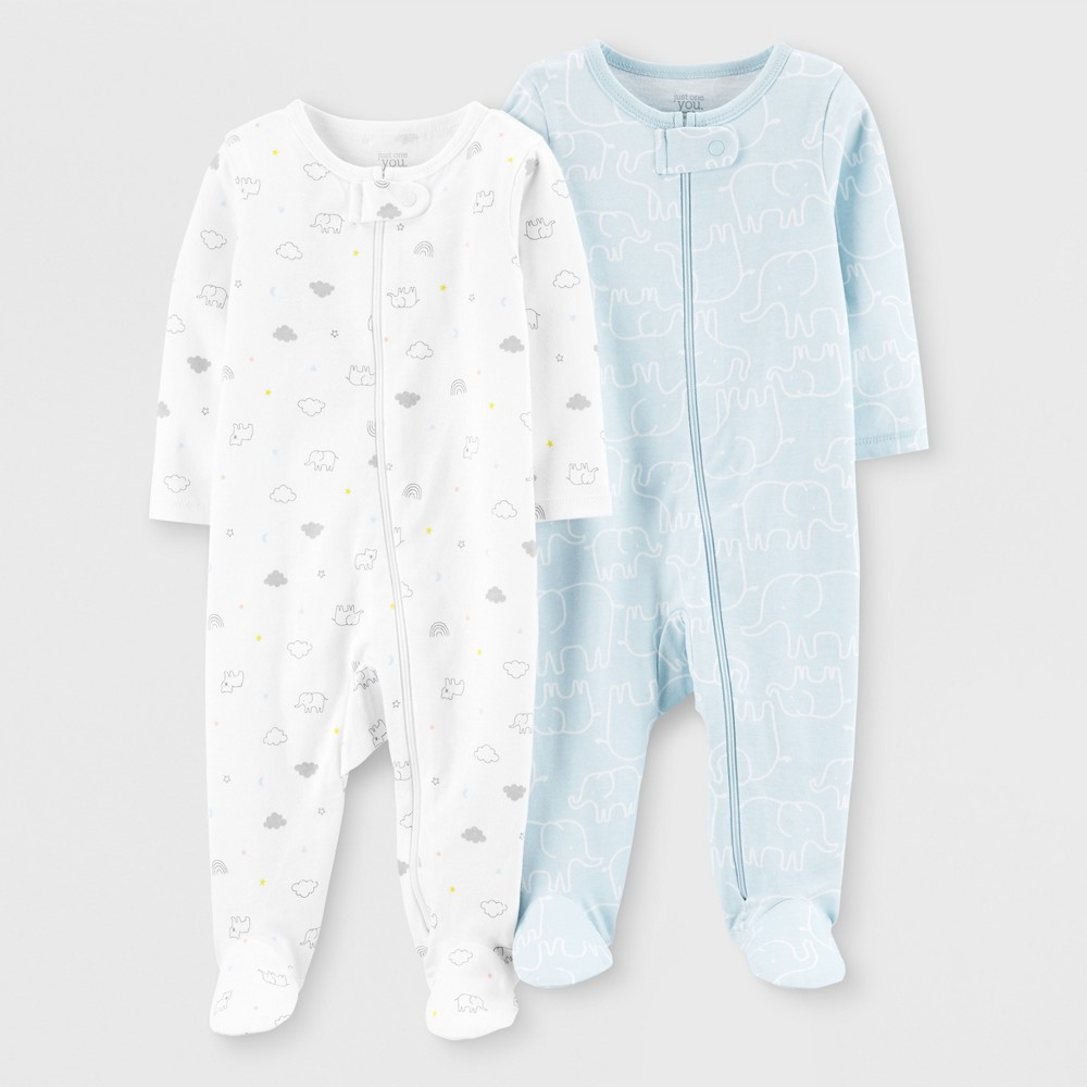 Image of Baby Boys' 2pk Footed Sleepers - Just One You made by carter's Blue/White 3M, Boy's